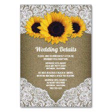 Sunflower Burlap and Lace Wedding Insert Cards