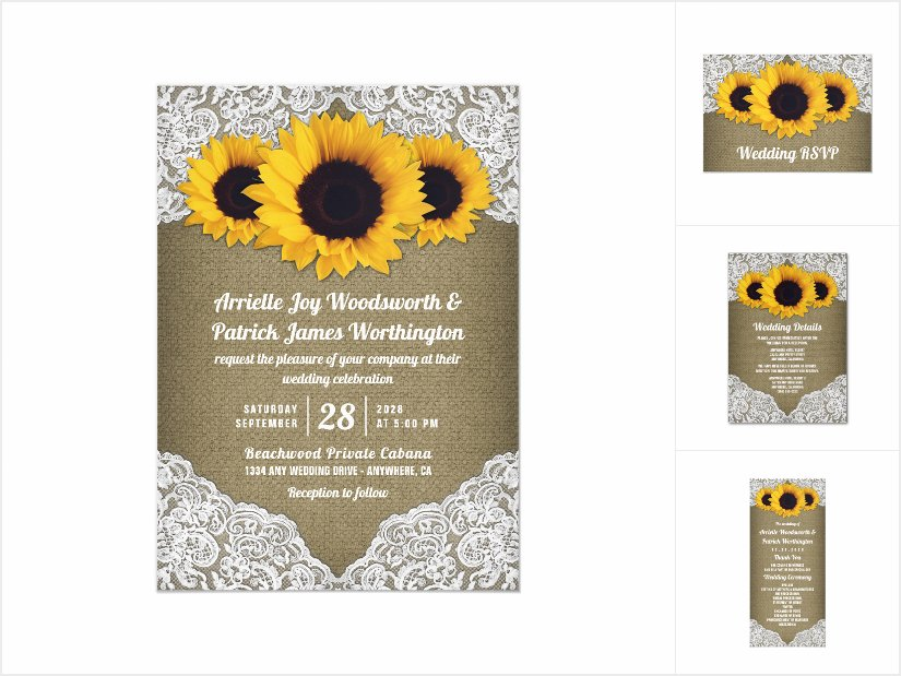 Sunflower Burlap and Lace Wedding Invitations Set