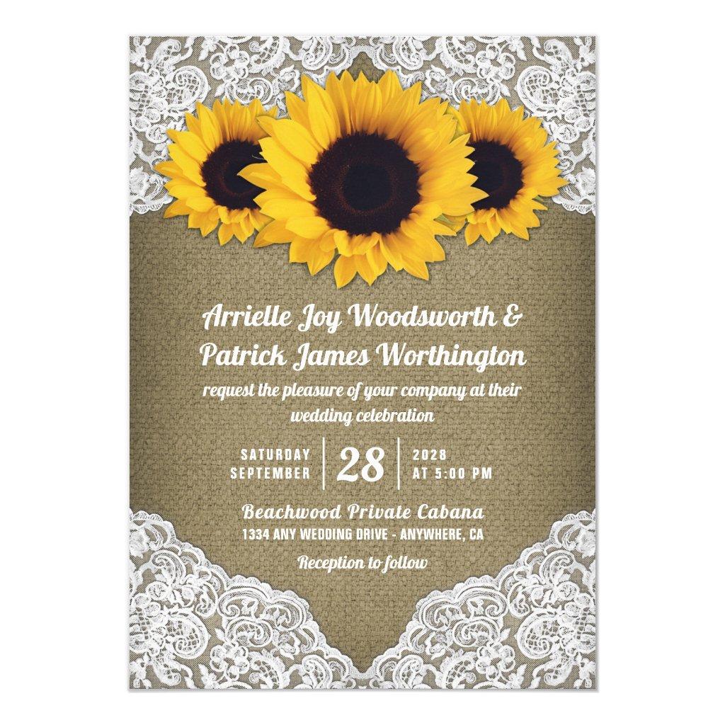 Sunflower Burlap and Lace Wedding Invitations