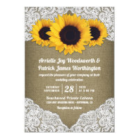 Sunflower Burlap and Lace Wedding Invitations