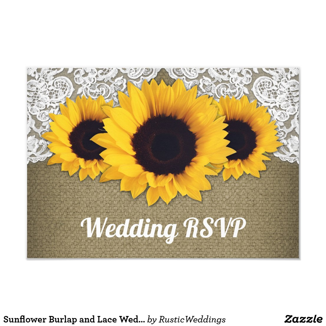 Sunflower Burlap and Lace Wedding RSVP Cards