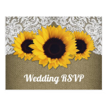 Sunflower Burlap and Lace Wedding RSVP Postcards