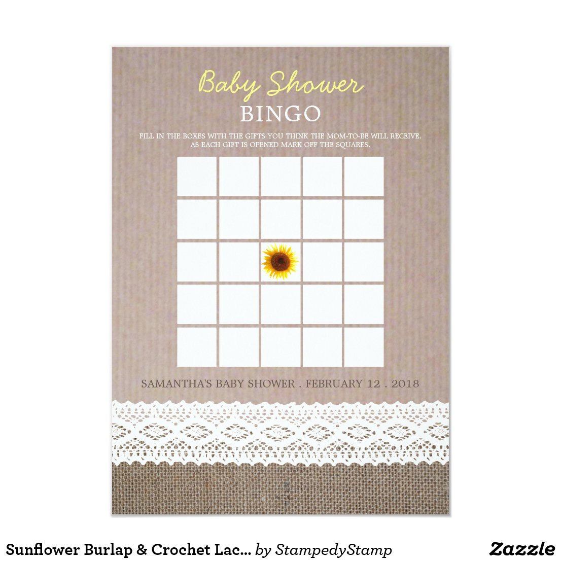 Sunflower Burlap & Crochet Lace Baby Shower Bingo