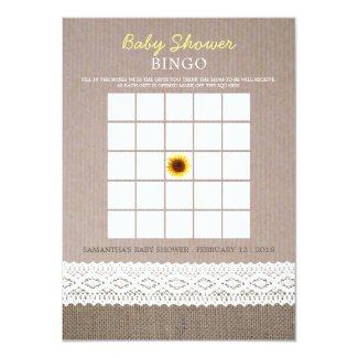 Sunflower Burlap & Crochet Lace Baby Shower Bingo