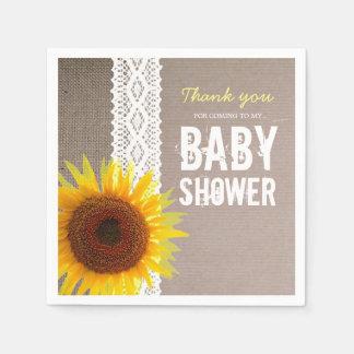 Sunflower Burlap & Crochet Lace Baby Shower Paper Napkin