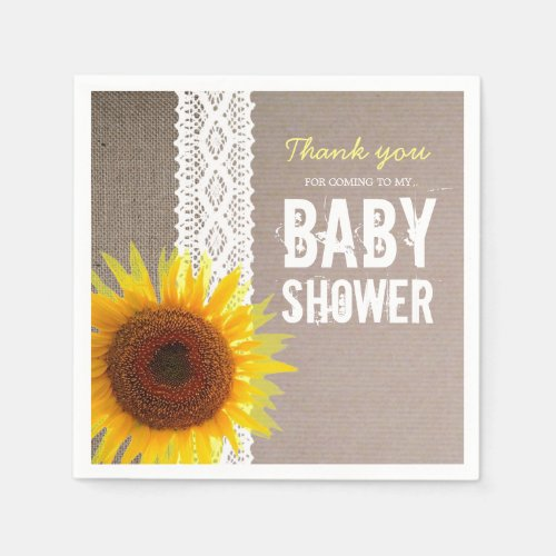 Sunflower Burlap & Crochet Lace Baby Shower Paper Napkin