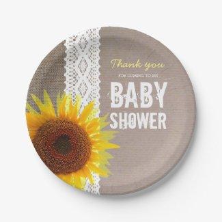 Sunflower Burlap & Crochet Lace Baby Shower