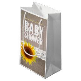 Sunflower Burlap & Crochet Lace Baby Shower Small Gift Bag
