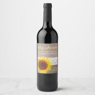 Sunflower Burlap & Crochet Lace Baby Shower Wine Label