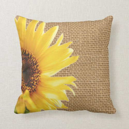 Sunflower Burlap Design Pillow