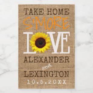 sunflower burlap fall take home smore love weddin food label