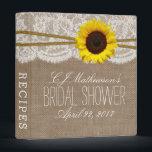 "Sunflower Burlap &amp; Lace Bridal Shower Recipe Binder<br><div class=""desc"">Rustic Sunflower Burlap &amp; Lace Bridal Shower Recipe Card Binder.</div>"