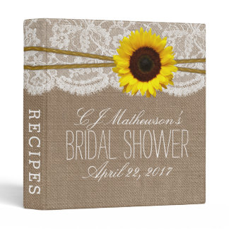 Sunflower Burlap & Lace Bridal Shower Recipe Binder