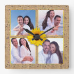 Sunflower Burlap Lace Instagram Photo Collage Square Wall Clock