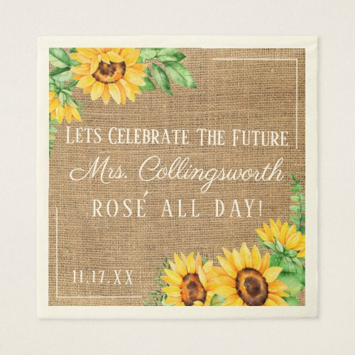 Sunflower Burlap Look Rustic Wedding Bridal Shower Paper Napkin