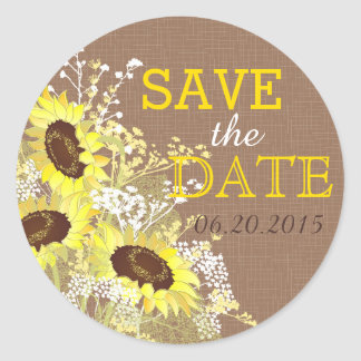 Sunflower Burlap Rustic Save the Date Label