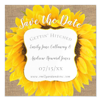 Sunflower Burlap Typography Wedding Save the Date Magnetic Card