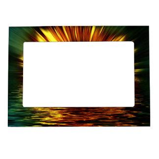 Sunflower-burst Over Water Magnetic Photo Frame