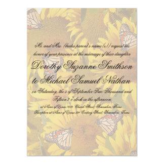 Sunflower Butterflies Floral Wedding Invitation