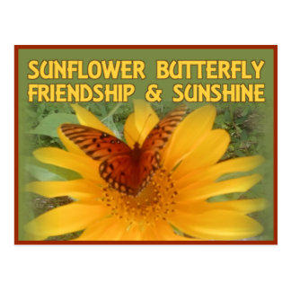 Sunflower Butterfly Friendship & Sunshine Postcard