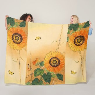 SUNFLOWER  Japanese Floral Fleece Blanket