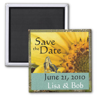 Sunflower Butterfly Save the Date Magnet