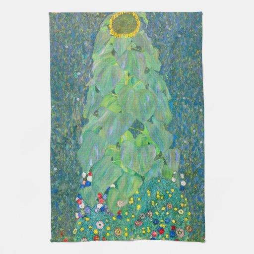 Sunflower by Klimt, Vintage Flowers Art Nouveau Hand Towel