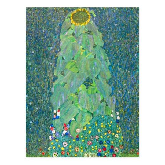 Sunflower by Klimt, Vintage Flowers Art Nouveau Postcard