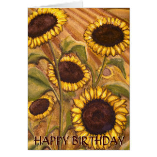Sunflower Card Happy Birthday Custom Greeting Card