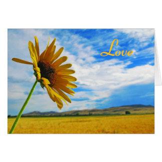 Sunflower Card; Love Notecard; Love You Card