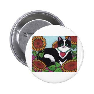 Sunflower Cat 2 Inch Round Button