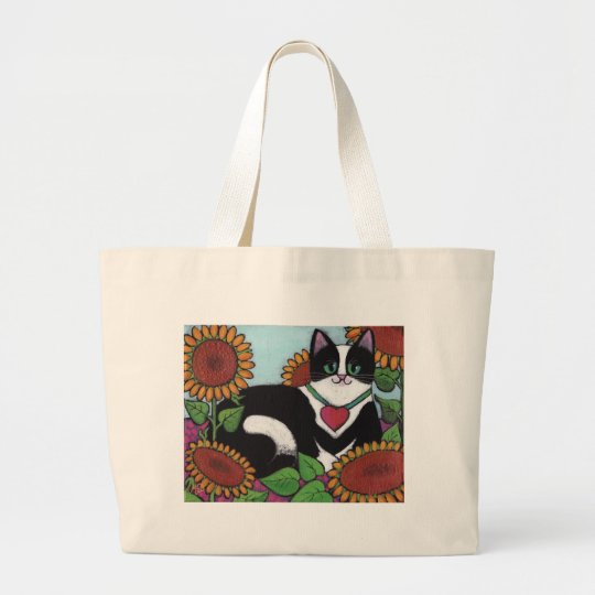 Sunflower Cat Large Tote Bag