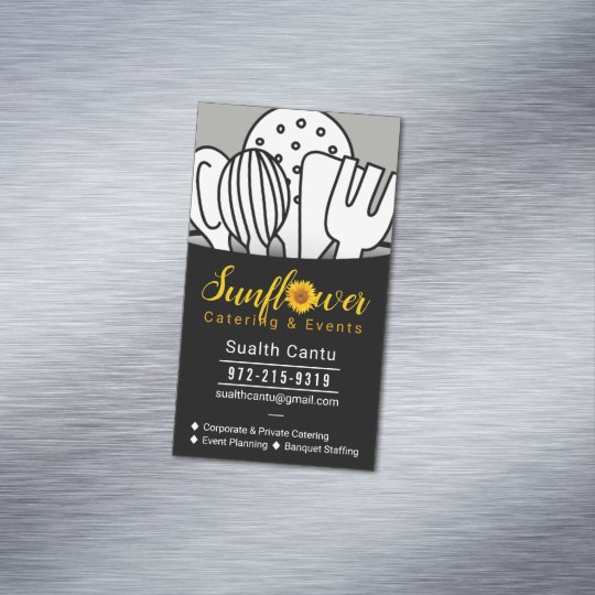 sunflower catering events 2 business card magnet