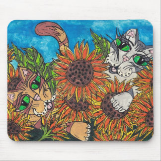 Sunflower Cats Mouse Pads