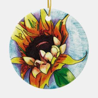 sunflower ceramic ornament