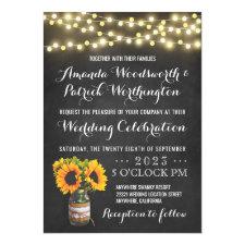 Sunflower Chalkboard Country Wedding Invitations
