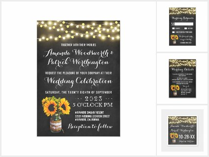 Sunflower Chalkboard Country Wedding Invitations