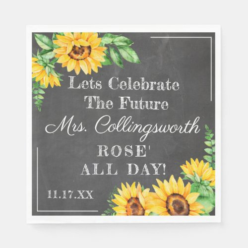 Sunflower Chalkboard Look Wedding or Bridal Shower Napkin