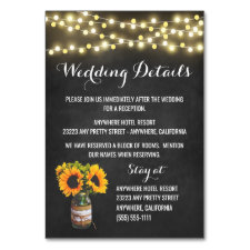 Sunflower Chalkboard Reception + Hotel Cards