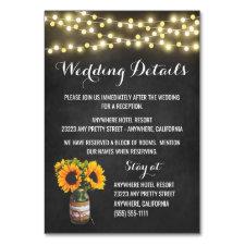 Sunflower Chalkboard Reception + Hotel Cards