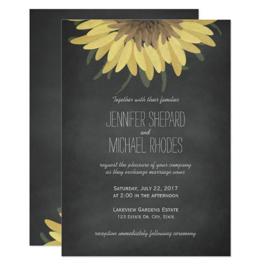 Sunflower Chalkboard Rustic Wedding Invitation