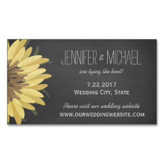Sunflower Chalkboard Rustic Wedding Save The Date Business Card Magnet
