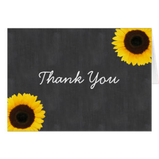 Sunflower Chalkboard Thank You Stationery Note Card