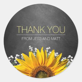 Sunflower Chalkboard Thank You Sticker