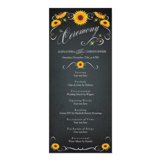 Sunflower Chalkboard Vintage Wedding Program