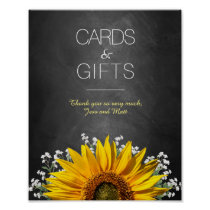 Sunflower Chalkboard Wedding Cards and Gifts Sign