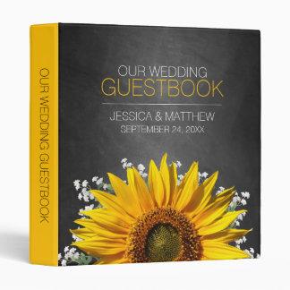 Sunflower Chalkboard Wedding Guestbook 3 Ring Binder