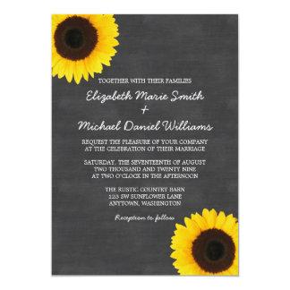 Sunflower Chalkboard Wedding Invitations