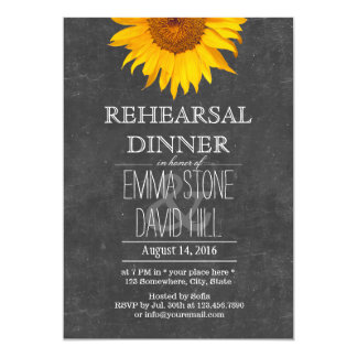 Sunflower Chalkboard Wedding Rehearsal Dinner Card