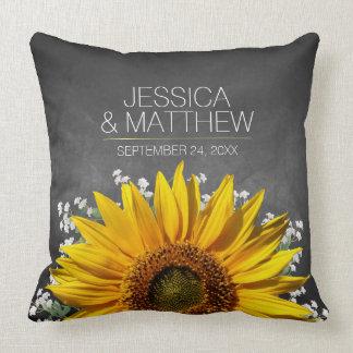 Sunflower Chalkboard Wedding Throw Pillow